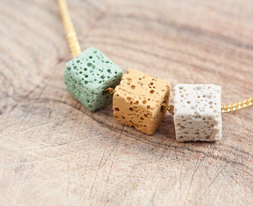necklace lava stone cube - daimblond - Etsy - Petit Prince