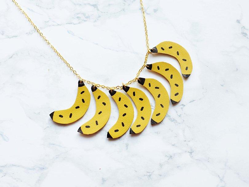 Handmade leather banana necklace - benushop on Etsy