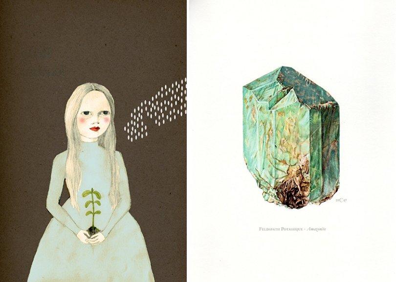 Planting Girl Print - IrenaSophia / Amazonite Vintage Mineral Print - AntiquePrintGallery on Etsy