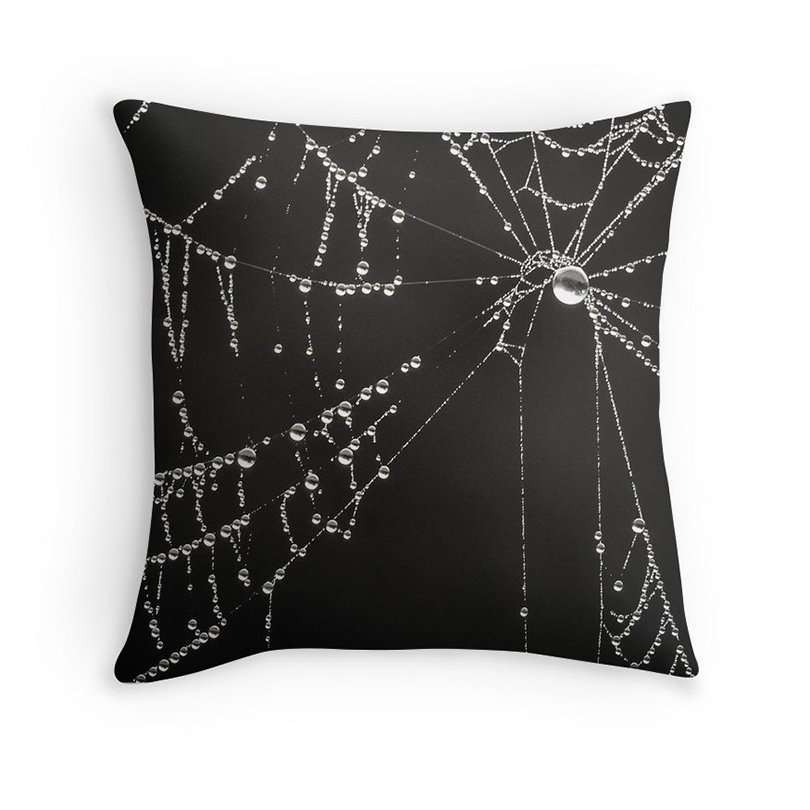 spidersweb pillow cover - InLightImagery on etsy