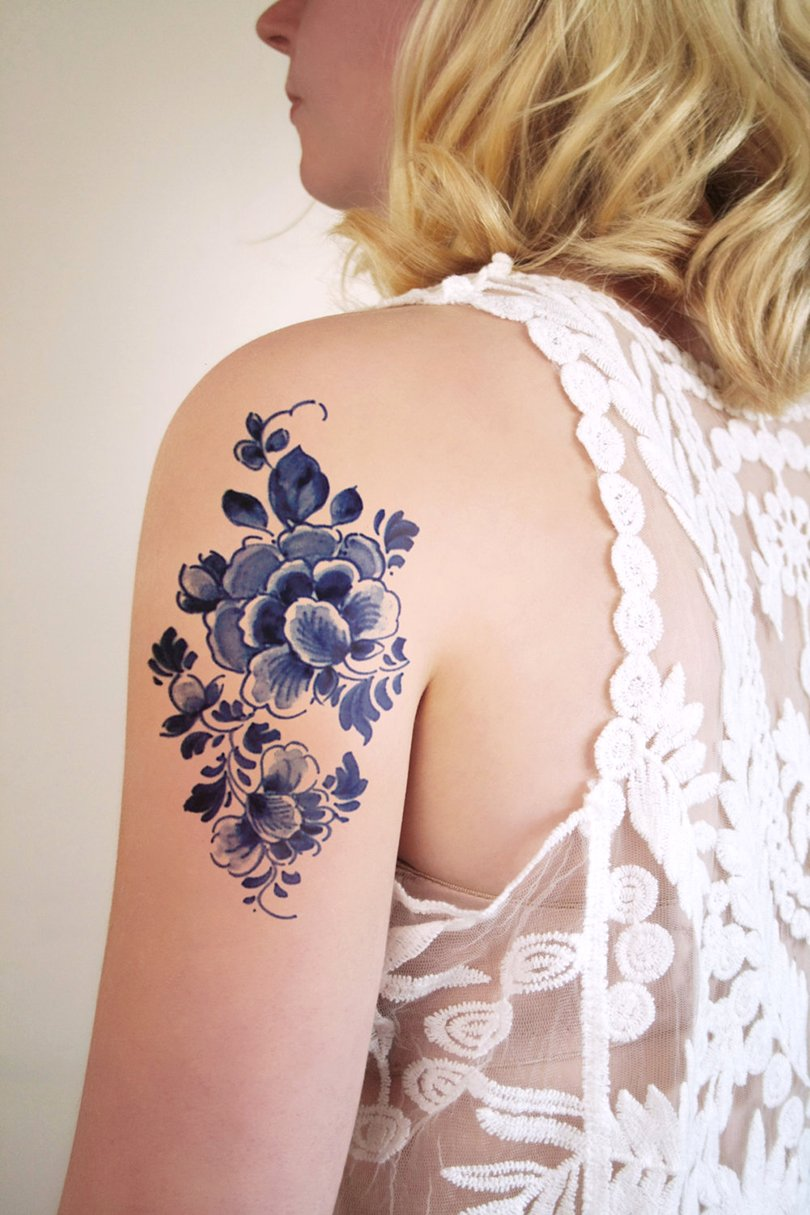 Delft Blue temporary tattoo - tattoorary on etsy