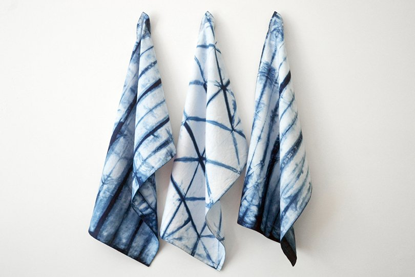 Indigo Dyed Shibori Kitchen Towel - jenniferlesleydesign on etsy