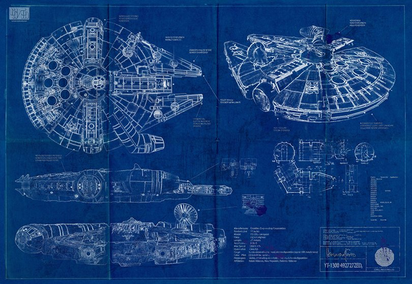 Millennium Falcon Star Wars Poster Blueprint - biglingraphics on etsy