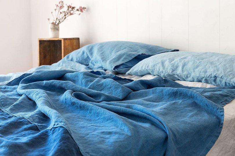 Natural Indigo Tri Shade Colour Block Summer Quilt Eco Friendly Bind - bindandfold on etsy1