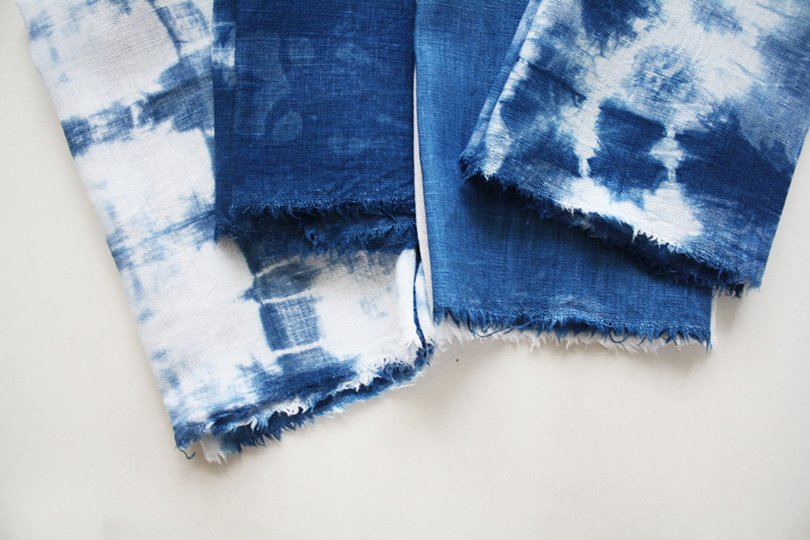 Set of 4 Indigo Shibori Raw Edge Napkins - shoppromisedland on etsy