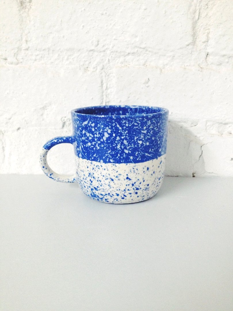 Speckled Mug Blue and White Porcelain - btwceramics on etsy