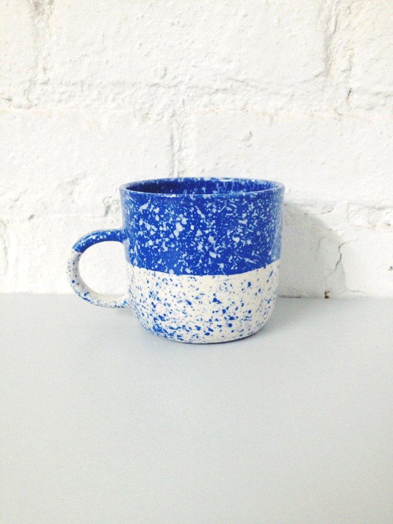 Speckled Mug Blue and White Porcelain - btwceramics on etsy