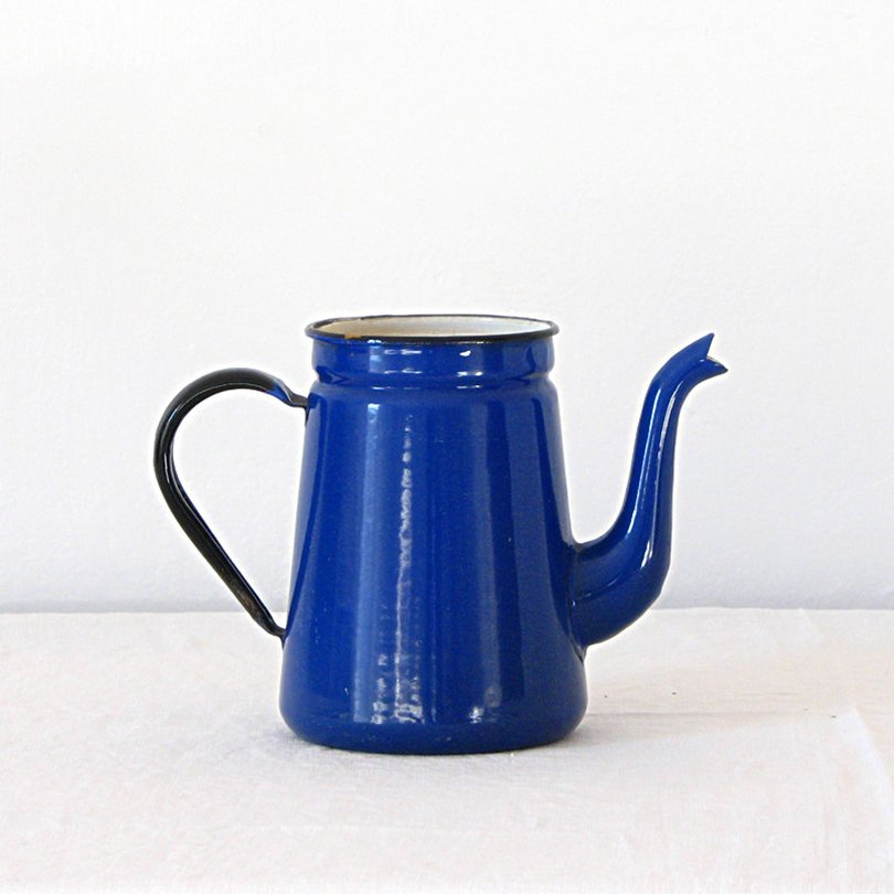 Vintage French Blue Enamelware Coffee pot - jillbent on etsy