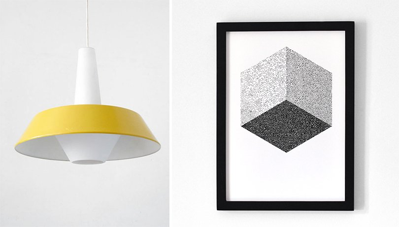 memphis style etsy finds - BomDesignFurniture - vintage hanglamp / Oelwein - cube poster