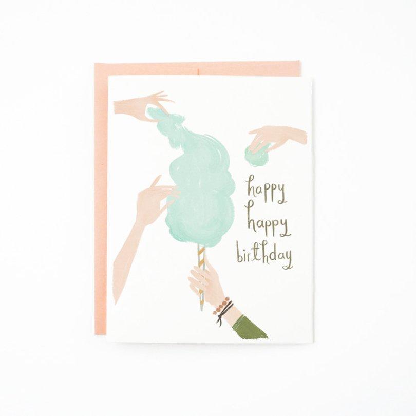 QuillandFox - cotton candy happy birthday card - Etsy